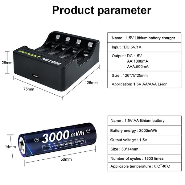 AA 1.5v Li-ion Rechargeable Battery 3000mWh 1.5V Lithium AA Rechargeable Battery 1.5v AA Battery for Remote Control Toy light