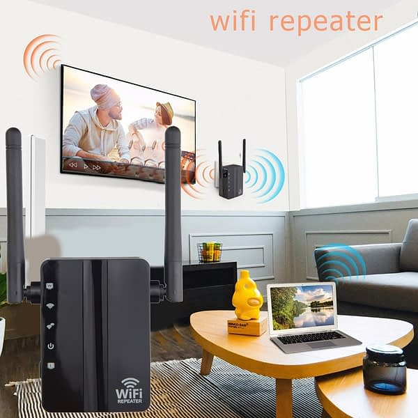 2.4G Wireless WiFi Repeater Dual Band 300Mbps Signal Amplifier Booster 2 Antennas WiFi Range Extender Wlan LAN Port Router