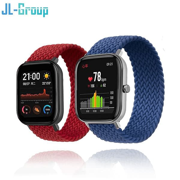 20mm 22mm Watch Strap Nylon Elastic Band For Amazfit GTS 2 Bip S U Lite Bracelet GTR 42mm 47mm Solo Loop Pace Stratos 3 Band