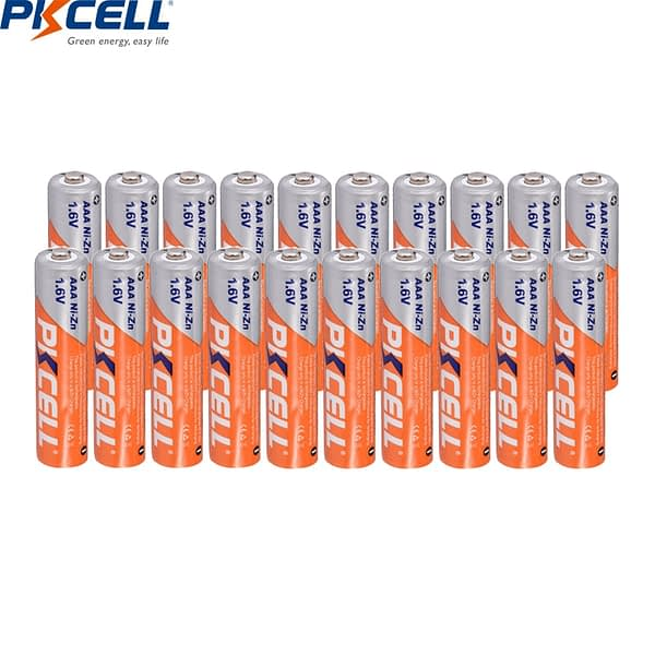 20Pcs PKCELL 1.6V AAA battery 900mWh Ni-Zn AAA Rechargeable Battery Batteries For Microphone, Wireless Keyboard, Mouse etc
