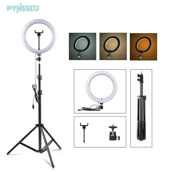 """PYNSSEU 26cm LED Ring Light with 1.1/1.6/2.0M Light Ring Stand Dimmable 10"""" Selfie Ring Lamp with Phone Clip for Youtube Makeup"""