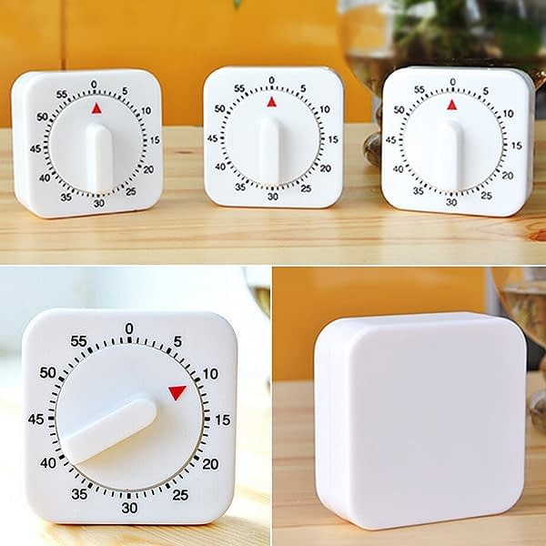 60 Minutes Dial Timers Kitchen Timer Count Down Alarm Reminder White Square Shape Mechanical Timer For Kitchen Food Preparation