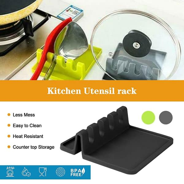 Silicone Utensil Rest Drip Pad Multiple Utensils Heat-Resistant Stove Top Spoon Holder Cookware Shelf Kitchen Storage Accessorie