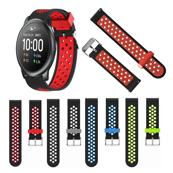 Bakeey 22mm Two-color Breathable Pin Buckle Silicone Smart Watch Band Replacement Strap For Xiaomi Haylou Solar Non-original