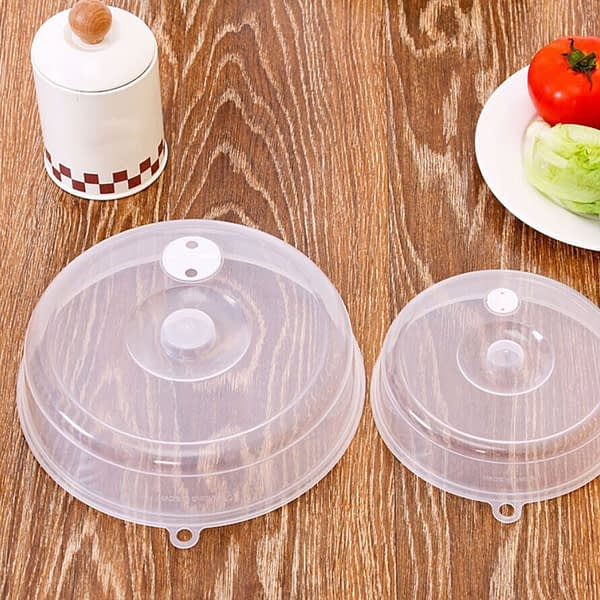 2PCS Plastic Microwave Plate Cover Clear Steam Splatter Food Wraps Reusable Silicone Food Fresh Keeping Sealed Covers #4py