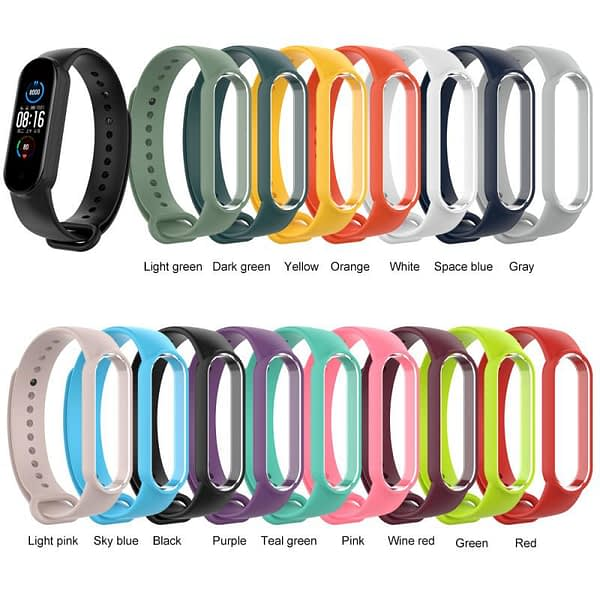 Replacement Strap For Mi Band 5 Strap Silicone Glossy Nail Buckle Replacement Wrist Strap Spot 16 Colors For Xiaomi Bracelet 5