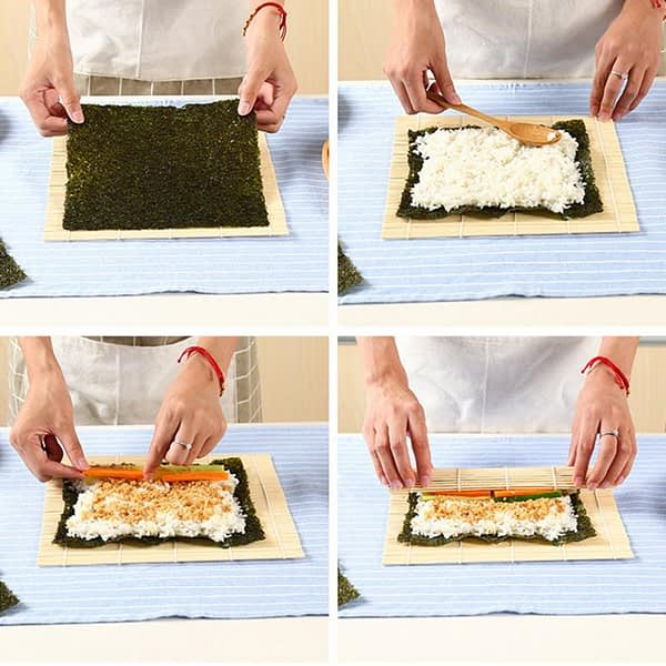 1 Pcs Sushi Set Sushi Maker Bamboo Rolling Mats Rice Paddles Tools Kitchen DIY Accessories Bento Accessories Sushi Plate
