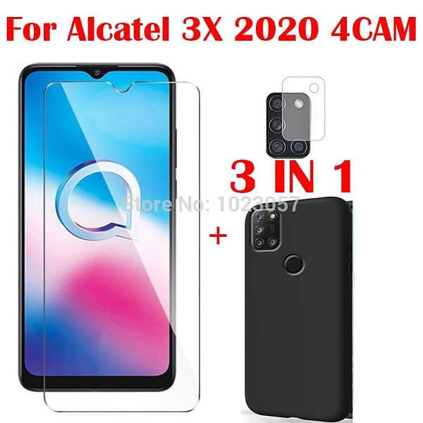 3-in-1 Soft Case + Camera Tempered Glass On For Alcatel 3X 2020 4CAM ScreenProtector Glass For Alcatel 3X 2020 4CAM 2.5D Glass