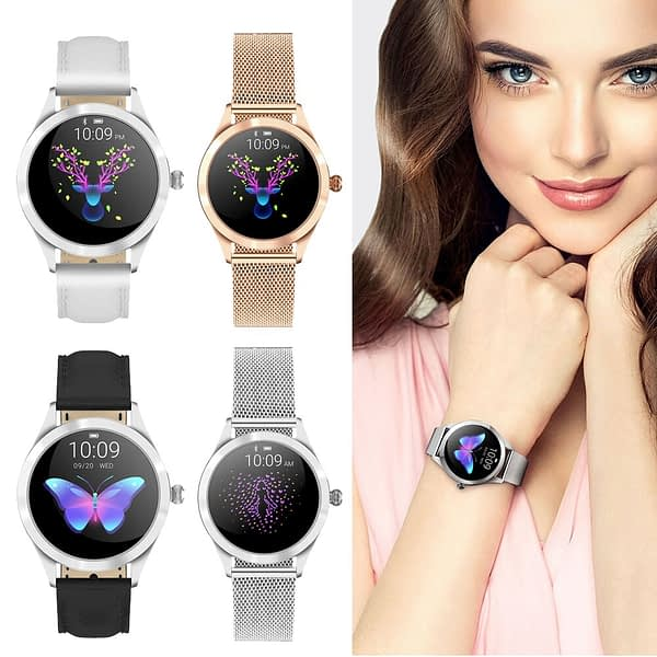 Fashion KW10 Smart Watch Women Lovely Bracelet IP68 Waterproof Heart Rate Monitor Sleep Monitoring Dial Smartwatch IOS Android