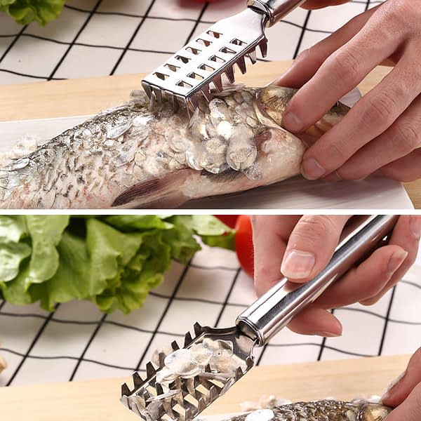 Factory Metal Fast Cleaning Fish Peeler Scale Remover Seafood Crackers Fish Scaler Cleaner Planer Skin Brush Scraper Tool