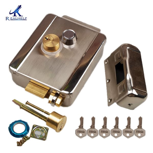 electric gate Lock 12V with Double Cylinder Locks for Gates with Solid Brass Hock Roll Iron Wooden Door Lock