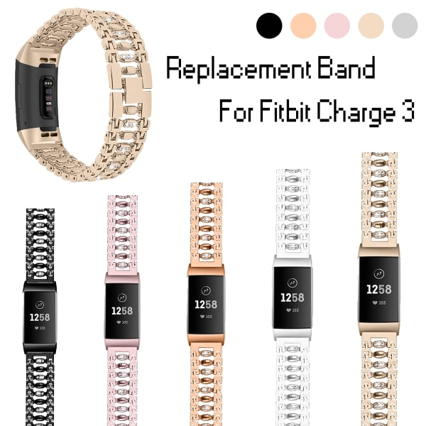Bakeey Stainless Steel Diamond-encrusted Watch Band Strap for Fitbit charge 3 Smart Watch