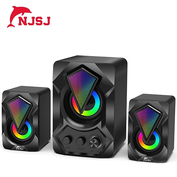 NJSJ 2.1 Wired Desktop Computer Speakers USB Powered,3.5 mm AUX-in, Volume Control,LED Light Mini Gaming Speaker for PC, Laptop,