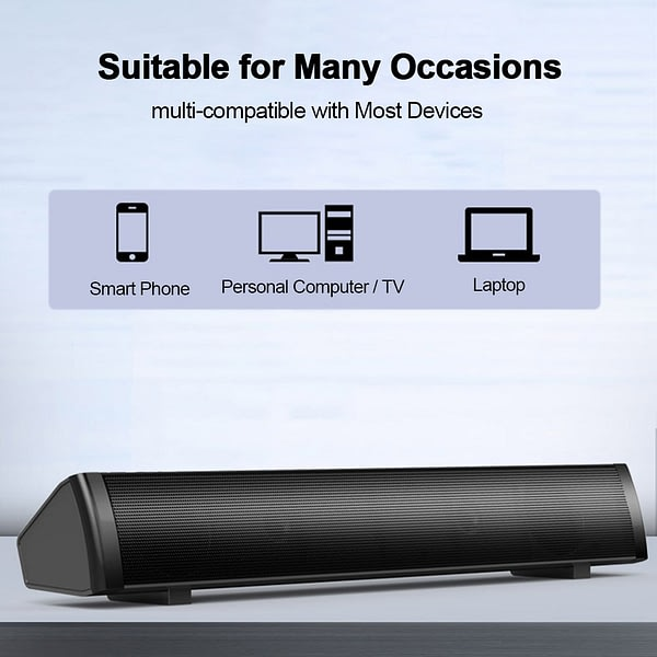 SADA Wired Speaker Computer Sound Bar Stereo USB Powered Mini Long Soundbar Speaker Sound Rich Bass for TV