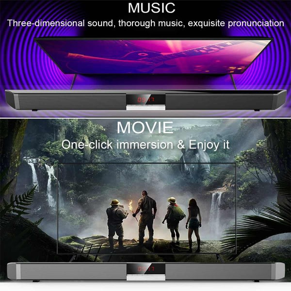 40W bluetooth Sound Bar Home HIFI Surround SoundBar Stereo Bass Speakers Built-in Subwoofers Display Screen for PC Theater TV