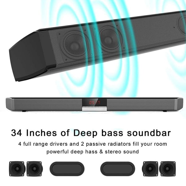 Home TV Theater Soundbar 60W Bluetooth 5.0 Speakers Wireless Sound Bar 3D Stereo Column Surround Subwoofers with Remote Control