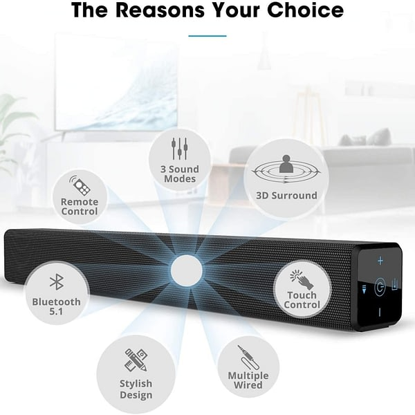YOUXIU 100W TV Sound Bars 2.0 Channel Home Theater Sound System Soundbar with Touch Screen Bluetooth Speakers Built-in Subwoofer