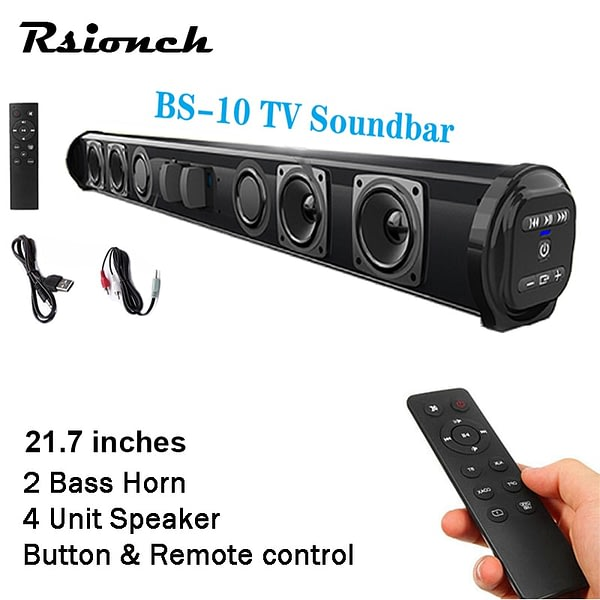 Rsionch Powerful Portable TV Sound Bar Speakers Wired & Wireless Bluetooth Home Surround Soundbar for PC Outdoor Speaker+Remote