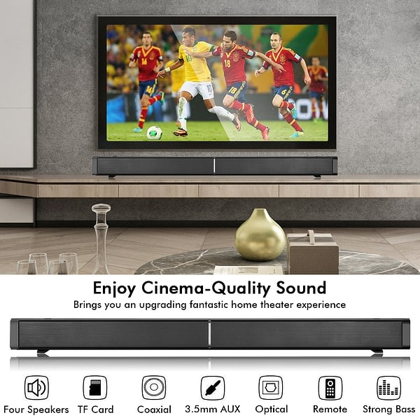 YOUXIU 60W Bluetooth Speaker Wired and Wireless Soundbar Powerful 3D Stereo Sound Loundspeaker with Four Speakers for PC/TV