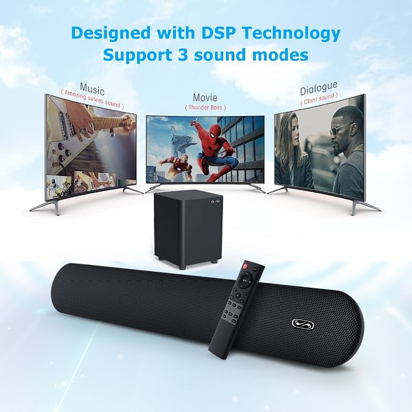 TV SoundBar 100W 2.1 Wireless Bluetooth Speaker Home Theater System Subwoober 3D Surround Remote Control Wall Mountable