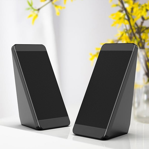 USB Wired Computer Speakers 2 Pieces PC Elevation Angle Horns Volume Control for Desktop Bass PC,Notebook,Smartphone and Tablet