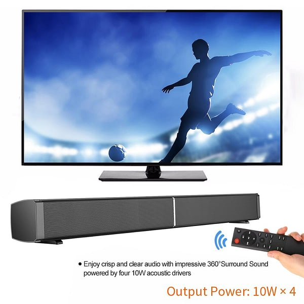 YOUXIU 40W Home TV Theater Sound Bar 2.0 Channel Sound Bar with Built-in Subwoofer Wired and Wireless Bluetooth 5.0 Speakers