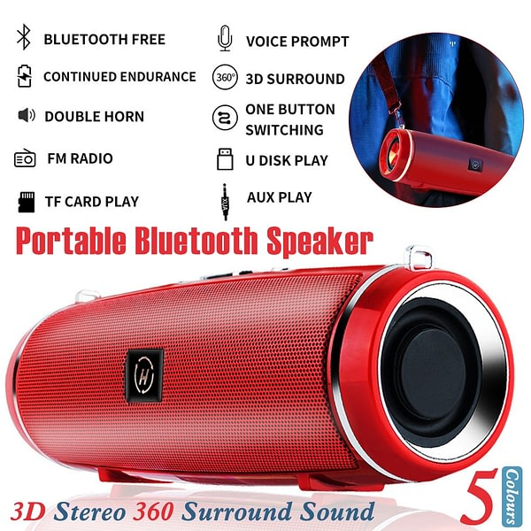 Portable Mini Bluetooth Speaker with AUX/USB/TF Card Slot Dual Driver Wireless Speaker with Shoulder Strap In Stock Fastshipping