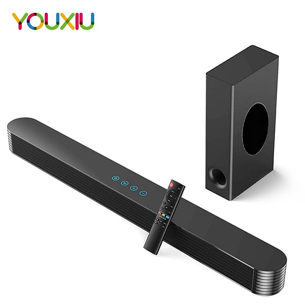 YOUXIU 120W Home TV Theater Soundbar Wireless Bluetooth Speakers Stereo Column Surround Sound Bar Subwoofers with Remote Control
