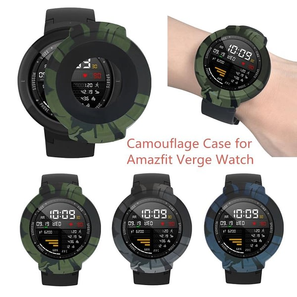 Soft Silicone Camouflage Protective Full Case Cover Silicone Shell Frame For Xiaomi Huami Amazfit Verge Smart Watch Replacement