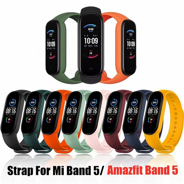 Strap for Amazfit Band 5 WristStrap for Xiaomi Huami Amazfit Band 5 Silicone Bracelet for Xiaomi Mi band 5 Smart Band Strap