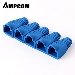 AMPCOM RJ45 Connector Strain Relief Boots Cover for CAT5/5E/6 Ethernet Cable-Low-Smoke Zero Halogen (Blue)