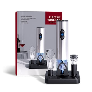 Electric Bottle Opener Set Automatic Red Wine Corkscrew with Vacuum Stopper/Aerator Pourer/Foil Cutter Gift Box Bar Accessories