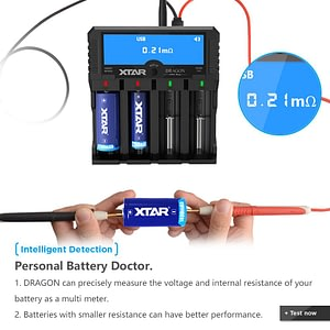 XTAR DRAGON VP4 PLUS Smart Battery Charger Set Pouch Probe Adapter Car Charger Fast Charging Cargador 18650 Battery Charger XTAR