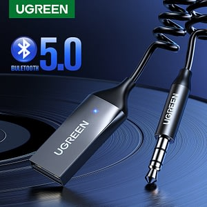 UGREEN Bluetooth Receiver 5.0 Adapter Hands-Free Bluetooth Car Kits AUX Audio 3.5mm Jack Stereo Music Wireless Receiver for Car