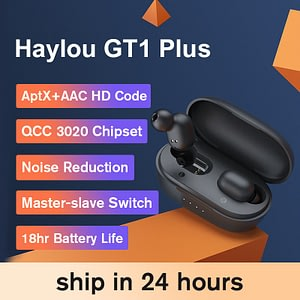 Haylou GT1 Plus APTX 3D Real Sound Wireless Headphones, Touch Countrl DSP Noise Cancelling Bluetooth Earphones QCC 3020 Chip