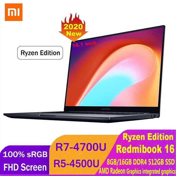 Xiaomi RedmiBook Laptop 16.1inch AMD Ryzen 4700U/4500U 512GB SSD Windows 10 Notebook 100% sRGB 1080P HD Screen Laptop