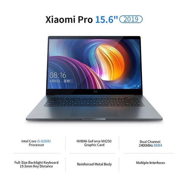Xiaomi Pro 15.6'' 8G 512G Ultralight Metal Laptop Fingerprint Sensor Touch Pad Laptop 8th Gen Intel i5 Processor Grey