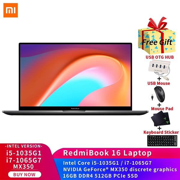 Xiaomi RedmiBook 16 Laptop Intel i7-1065G7/i5-1035G1 16GB DDR4 512GB SSD MX350 discrete graphics 16.1-inch ultra-thin Notebook