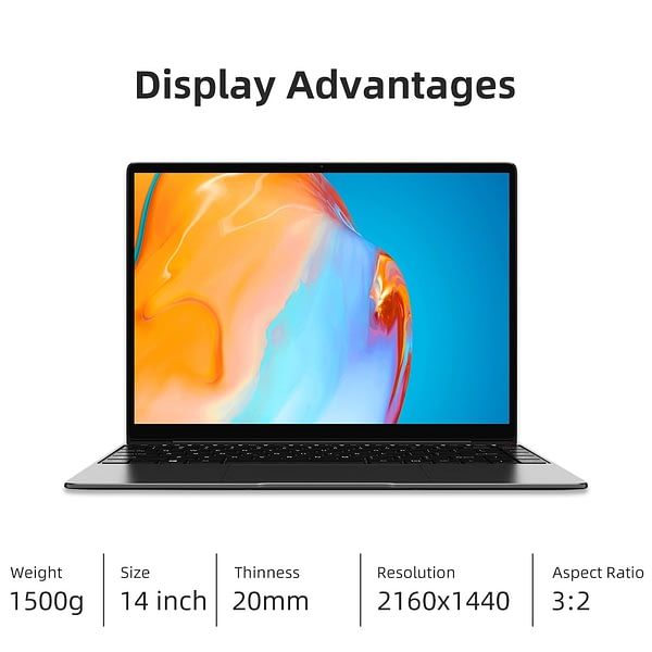 CHUWI GemiBook Pro 14 Inch 2160*1440 Display Intel Celeron J4125 Quad Core Processor LPDDR4X 16GB 512GB SSD Windows 10 Laptop