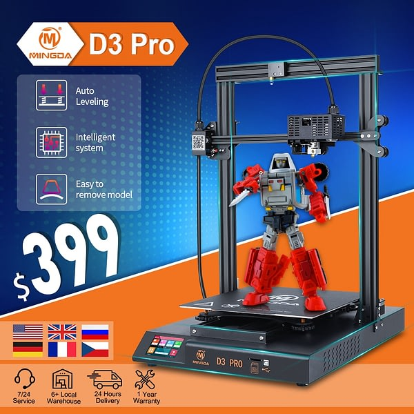 3D Printer Kit 3D Printers Metal 3D Printer 320*320*400mm FDM TMC2208 Direct Extruder Mingda D3 Pro Vs CT-6/10 Ender 3 Pro