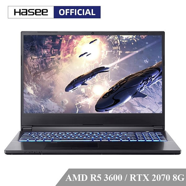 Hasee M7-E6S3 Laptop for Gaming(AMD Ryzen 5 3600+RTX2070 8g/16GB RAM/512G SSD/15.6''144hz 72%NTSC IPS ) Hasee Notebook computer