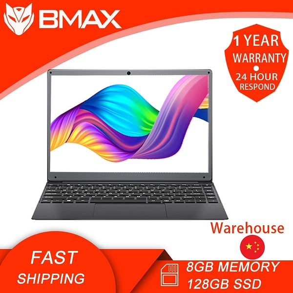BMAX S13A 13.3 inch With Full Sized Keyboard Intel Celeron N3350 8G RAM 128GB M.2 SSD 1920*108 IPS Mental Boday Gaming Netbook