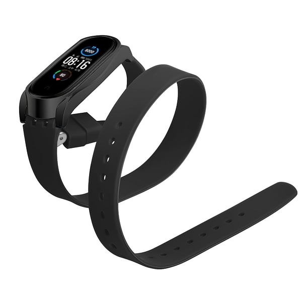 Bakeey Buckle Metal Shell Long Silicone Replacement Strap Smart Watch Band For Xiaomi Mi Band 5 Non-original