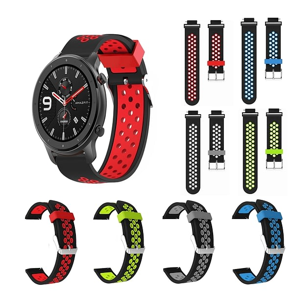 Double Color Breathable Watch Band Watch Strap Replacement for 47mm Amazfit GTR Smart Watch