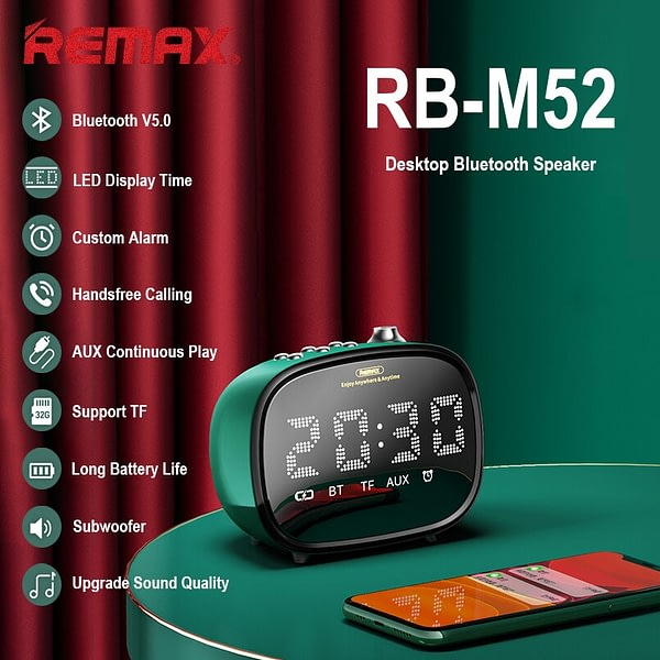 REMAX Portable Speakers Bluetooth V5.0 Wireless HD Microphone Speaker With Alarm Clock Stereo Music Surround Outdoor Loudspeaker