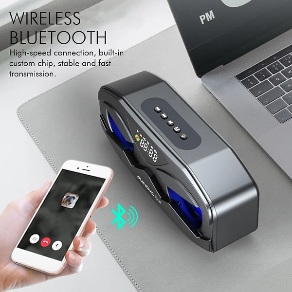 M8 Cool Robot Design Bluetooth Speaker LED Rhythm Flash Wireless Loudspeaker FM Radio Alarm Clock TF Card Support Subwoofer M5