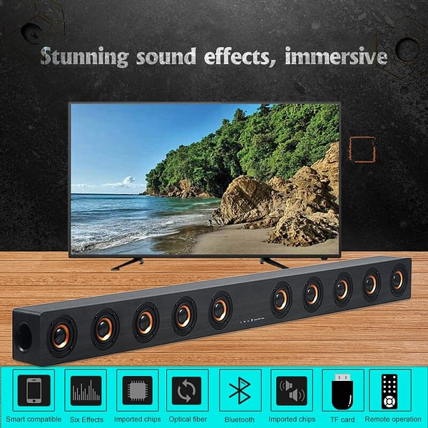 40W HiFi Wireless Bluetooth Soundbar Speakers 3D Surround Stereo Subwoofer for TV Home Theatre System Sound Bar Movie RAC AUX