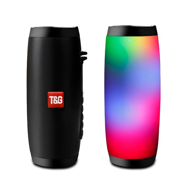 Wireless Bluetooth Speaker LED Portable Boom Box Outdoor Bass Column Subwoffer Sound Box with Mic Support TF FM USB