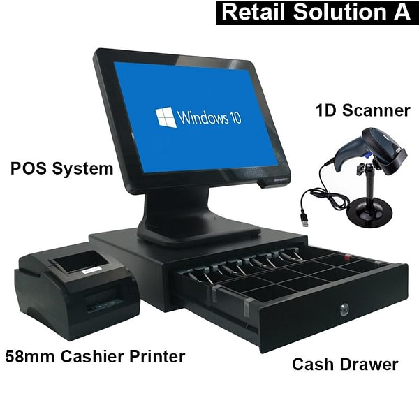 POS System Touch All in One Windows Hardware with Software for Supermarket or Restaurant
