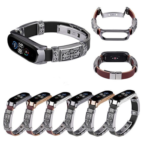 Bakeey Buckle Metal Shell Retro Double Button Butterfly Clasp Strap Smart Watch Band For Xiaomi Mi Band 5 Non-original